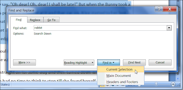 Drop-down Menu of 'Find in' Button in Find & Replace Dialog Box