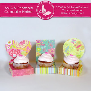 SVG & Printable Cupcake Holder Pattern