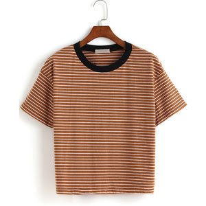 The contrast collar striped loose t-shirt from Romwe