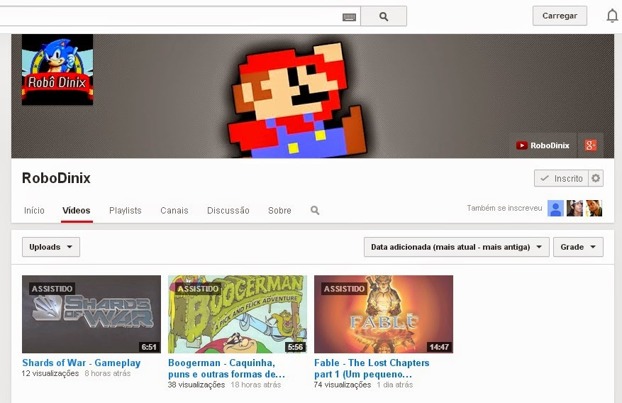 canal do youtube RoboDinix.
