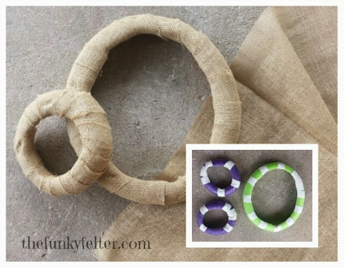 burlap wrapped wreath with cheap and easy pool noodle base
