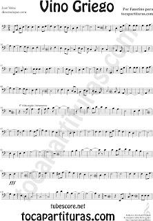 1 Partituras  de Vino Griego en Clave de Fa en Cuarta línea. Partitura de Trombón, Chelo, Fagot, Tuba Elicón, Bombardino... Sheet Music for Trombone, Cello, Bassoon, Tube, Euphonium in Bass Clef F Music Scores
