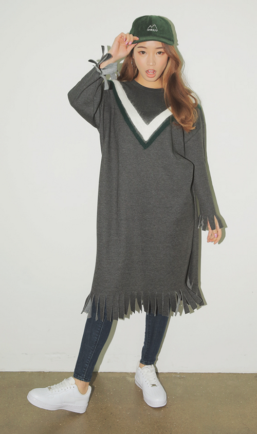 V Accent Fringed Dress
