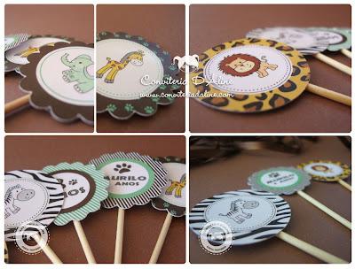 toppers decoração festa safari