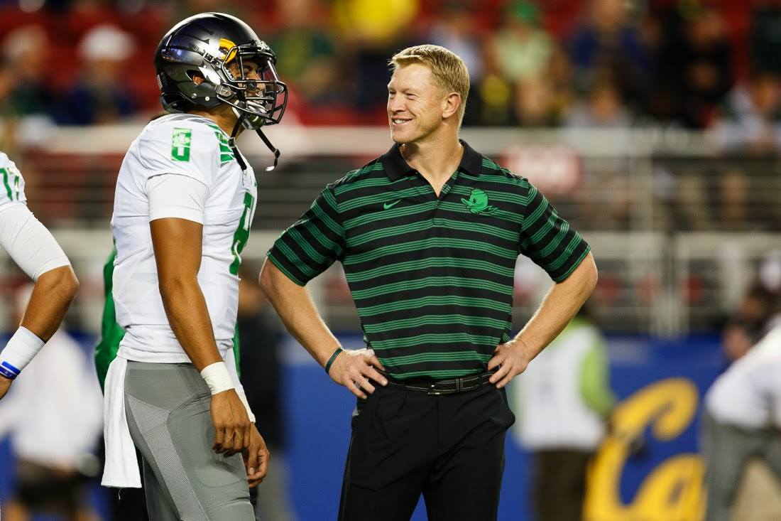 Oregon OC Scott Frost downplays concern for the Duck's post-Mariota future.