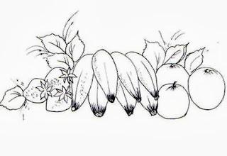 desenho bananas com laranjas e morangos para pintar