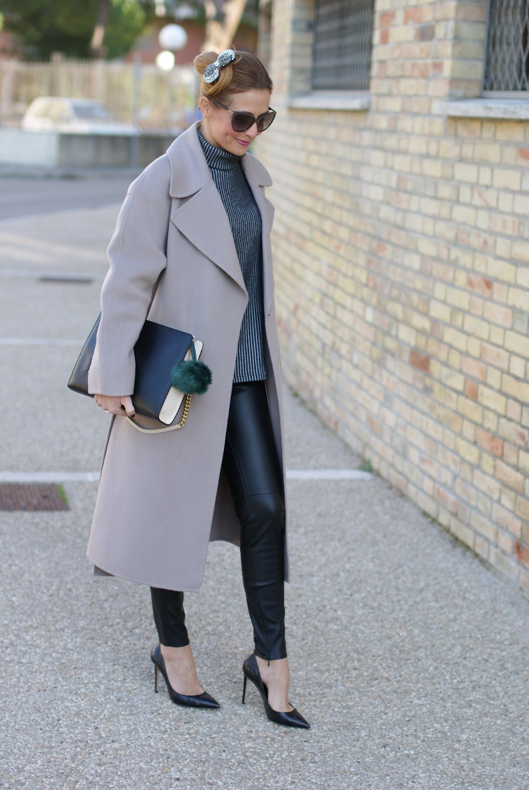 Maxi coat with leather leggings and sexy heels on Fashion and Cookies fashion blog
