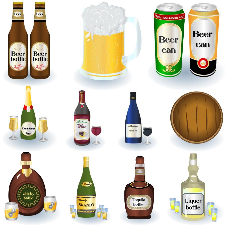 冷えたビールとお酒のクリップアート beer bottles drinks イラスト素材4