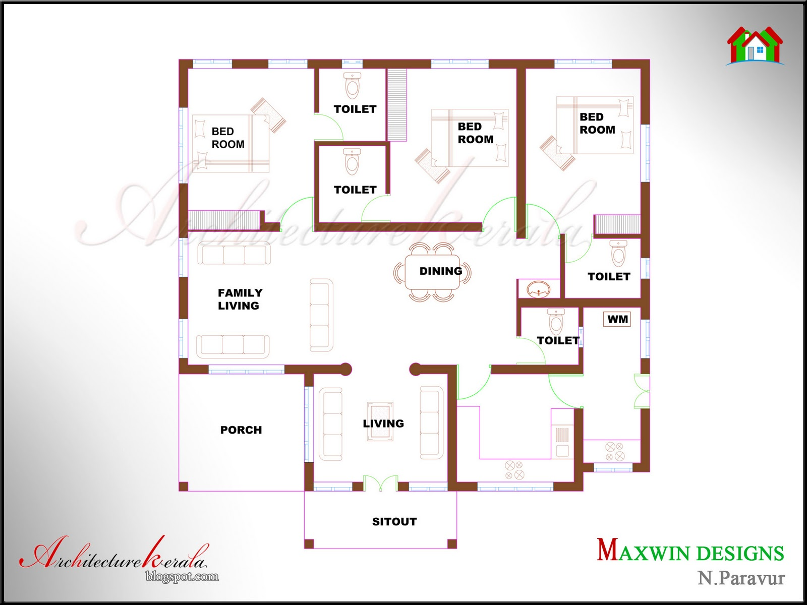 3 bhk single floor kerala house plan and elevation for Three bedroom house plans kerala style