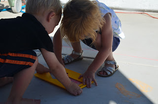 Team Work with stencils.  Giveaway for Chalk City Ends 8/13