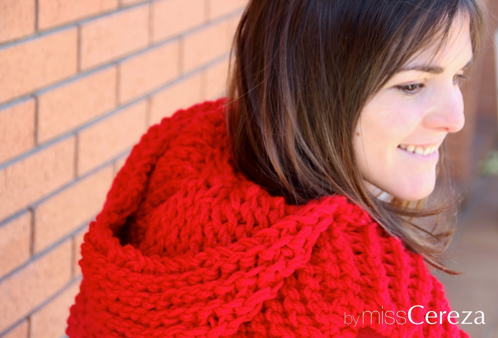 Capucha roja tejida con 2 agujas
