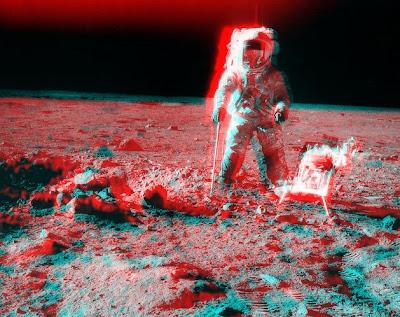 Pete Conrad en la Luna, anaglifo