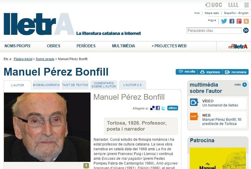 PÀGINA DEDICADA A PÉREZ BONFILL AL PORTAL 'LLETRA'