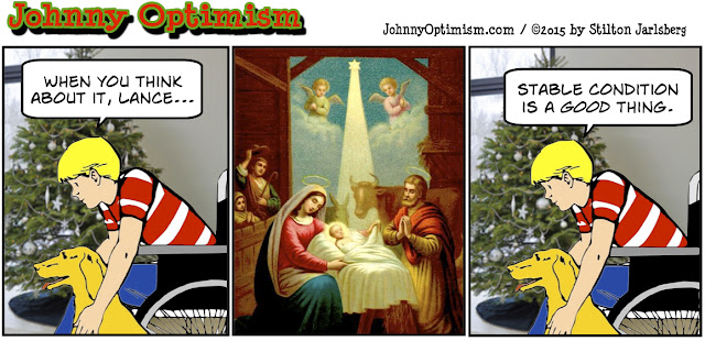 johnny optimism, medical, humor, sick, jokes, boy, wheelchair, doctors, hospital, stilton jarlsberg, christmas, stable