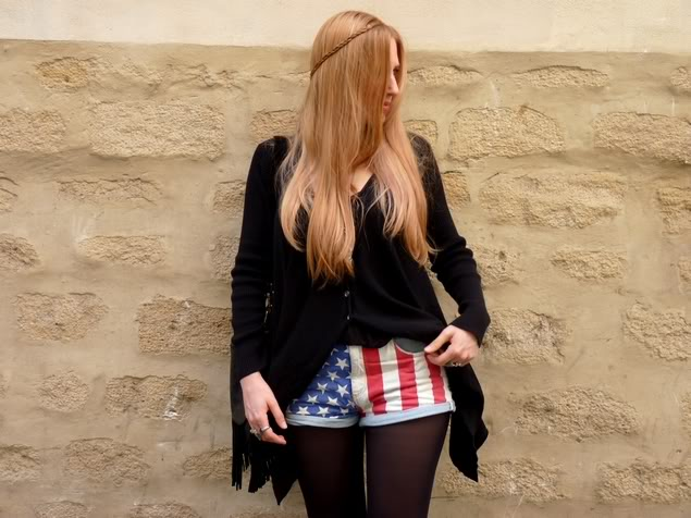 the chic and cheap dressing le repere vintage short jeans topshop american flag drapeau. Black Bedroom Furniture Sets. Home Design Ideas