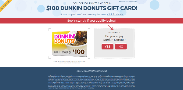 Get $100 Dunkin Donuts Gift Card!