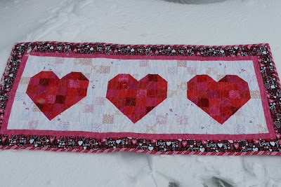 Hearts quilted