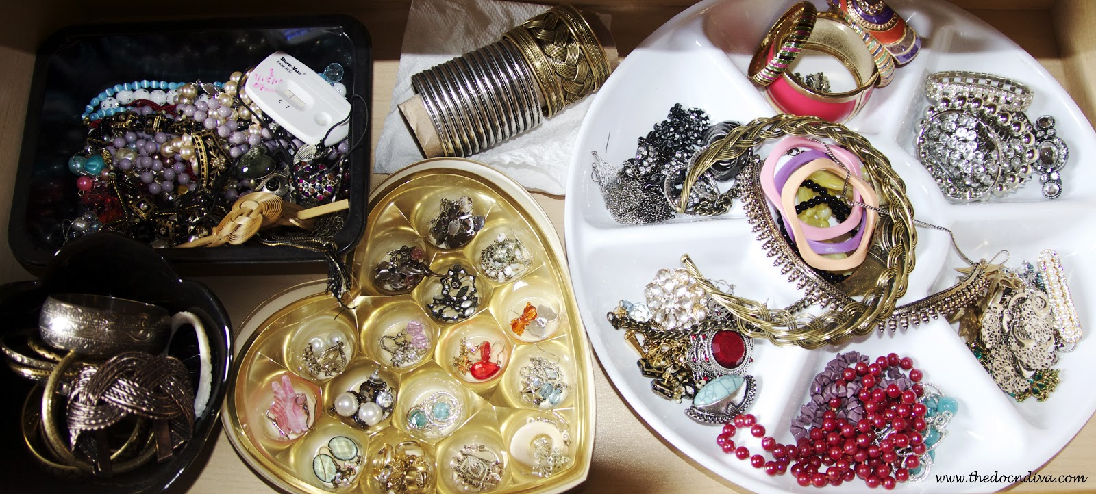5 coolest and cheapest diy jewelry organizing ideas do it yourself the heart shaped container is a ferrero rocher chocolate container white circular one is a divided salad tray from dollar store bought for a dollar solutioingenieria Choice Image