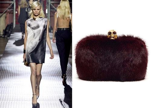 Lanvin catwalk show. Alexander McQueen clutch bag