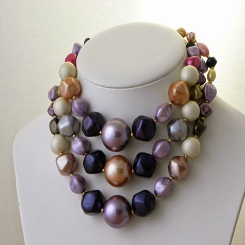 hong kong purple multi strand necklaces