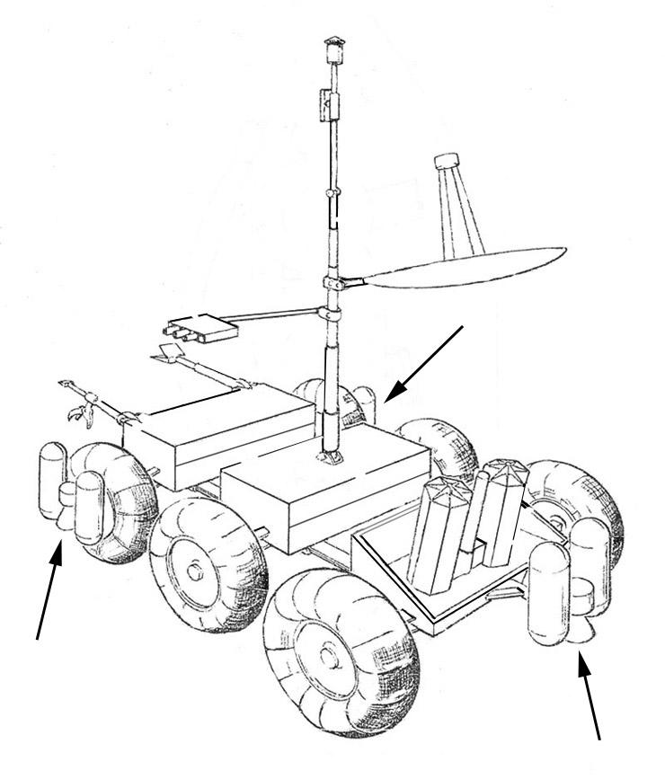 Jpl's 1979 Mars Rover In Its Landed Configuration Arrows Point To The Three Terminal Descent Rocket Motors Image Credit Jplnasa: Land Rover Lander 2 Wiring Diagram At Ultimateadsites.com