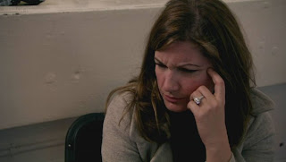 Karren Brady making a face while on the Apprentice TV show