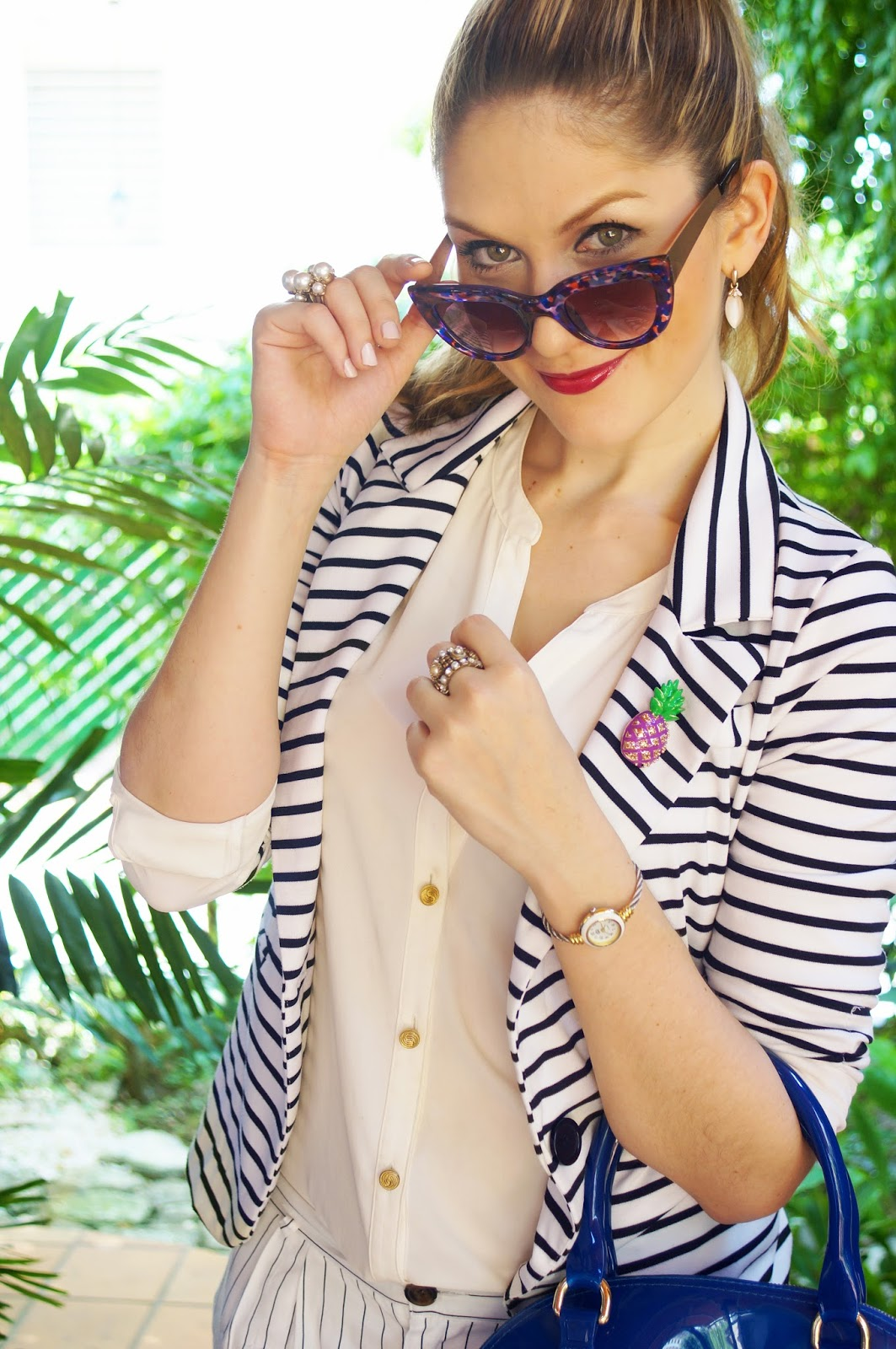Combine your classic striped blazer with fun accessories to look more modern and chic!