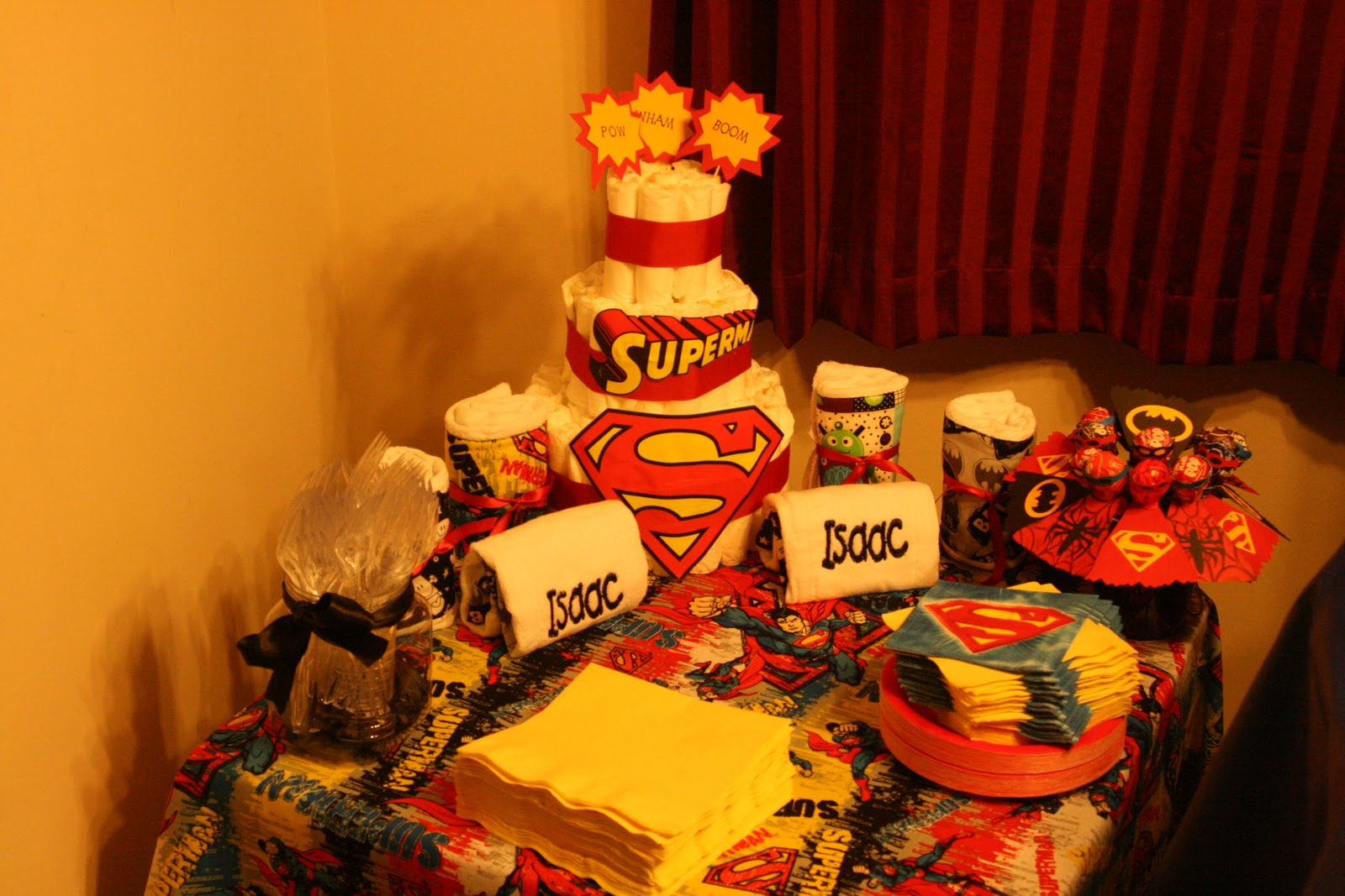 homemade superhero baby shower decorations