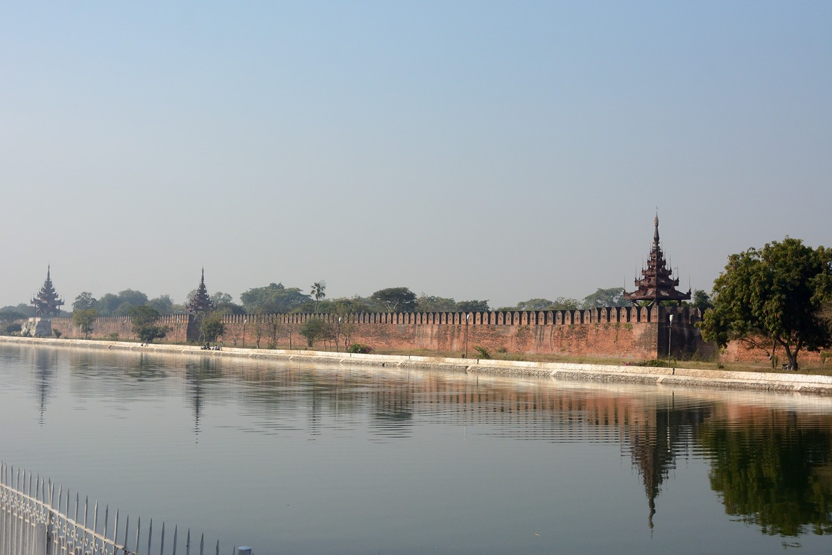 Royal Palace wall and moat in Mandalay