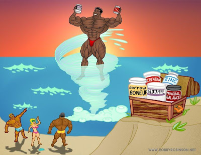 ROBBY ROBINSON AND FITNESS & SPORTS FRIENDS ON  THE MUSCLE BEACH WITH RR'S NATURAL ANABOLIC 7-PACK  BODY BUILDING HERBS & SUPPLEMENTS ANIMATION BY ART BINNINGER Robby's dietary anabolic SUPPLEMENTS, OILS and HERBS for natural fat loss  and muscle growth at any age ▶ www.robbyrobinson.net/anabolic-pack.php