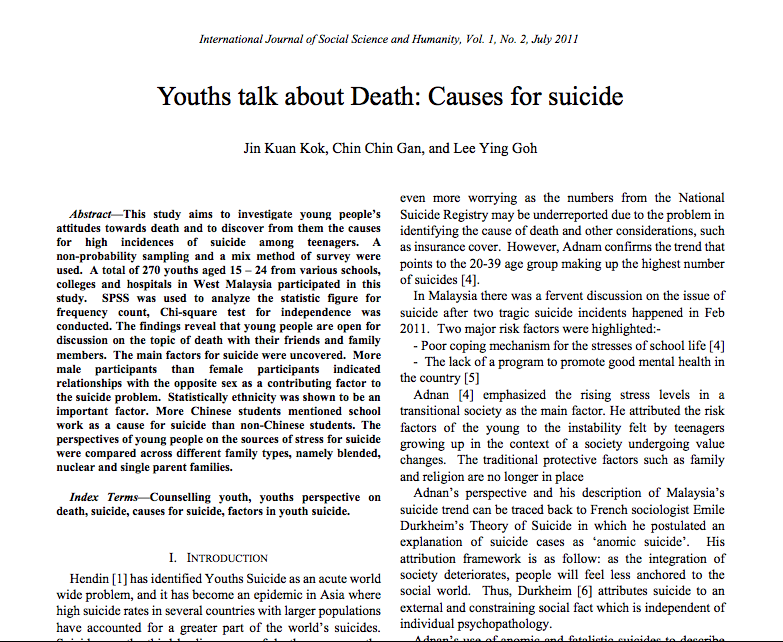 youth suicide in malaysia Kuala lumpur: suicide cases in malaysia may increase, a psychiatrist has warned as lifestyles change in light of the nation reaching high-income status in.