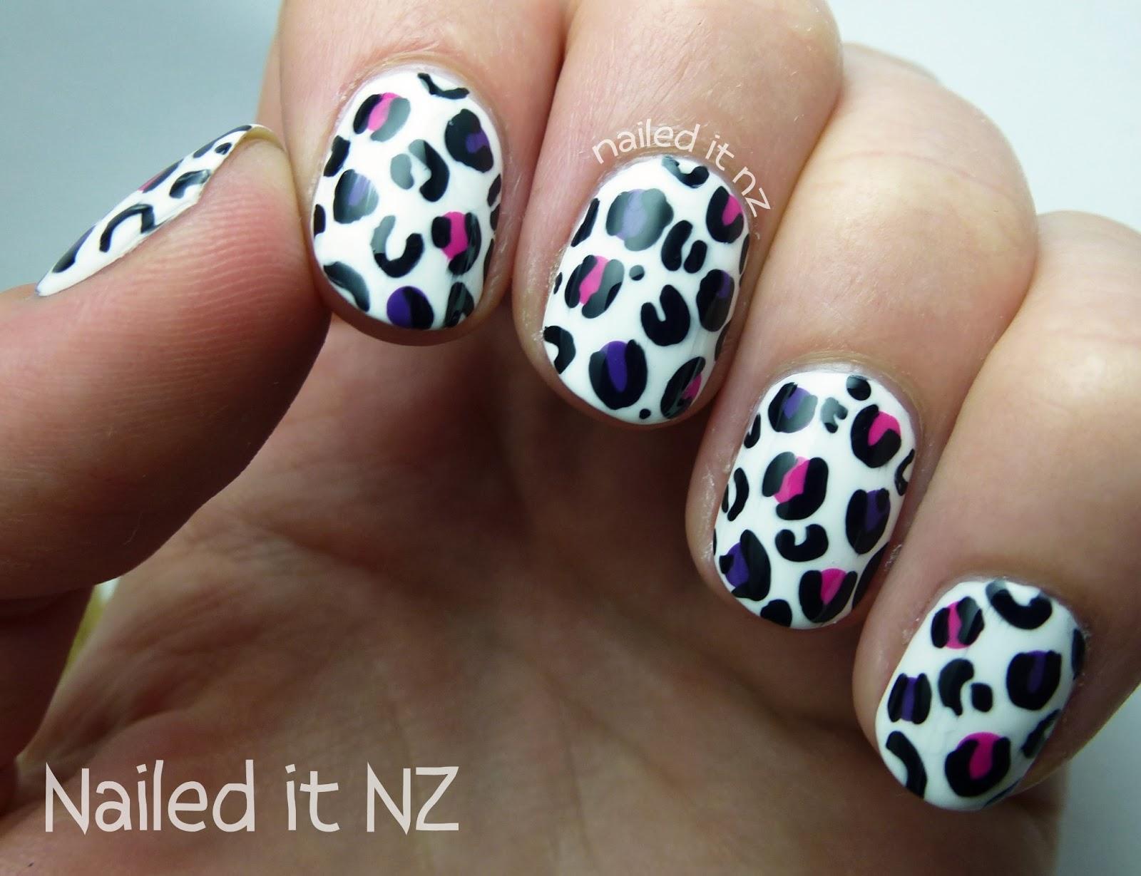 Nail art for short nails #8 - White leopard print nail art