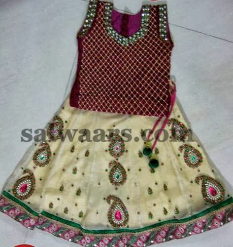 Mango Work Cream Lehenga