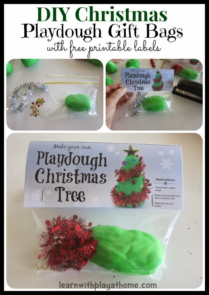 Learn with Play at Home: DIY Chistmas Tree Playdough Gift Bags with ...
