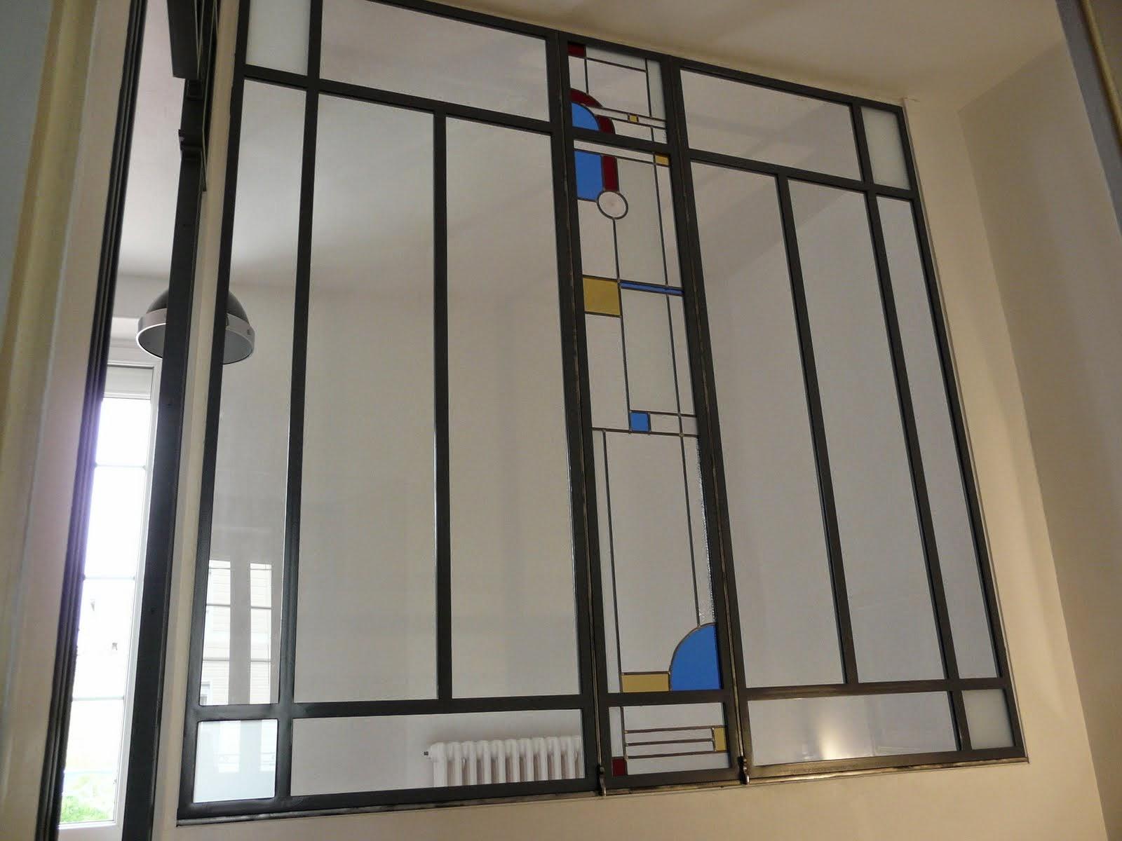 Des id es en verre vitraux art d co dans une verri re for Verre pour verriere