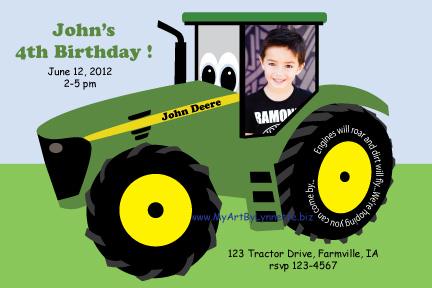 LynnetteArt John Deere Tractor Birthday Invitation – John Deere Tractor Birthday Invitations