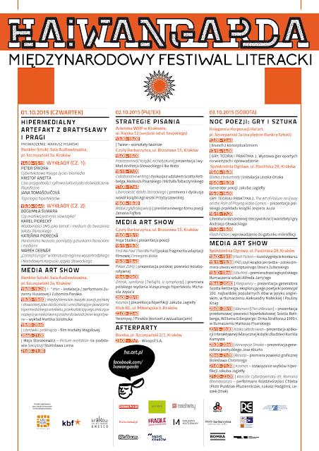 Międzynarodowy Festiwal Literacki Ha!wangarda 2015 (1-3.10.2015)