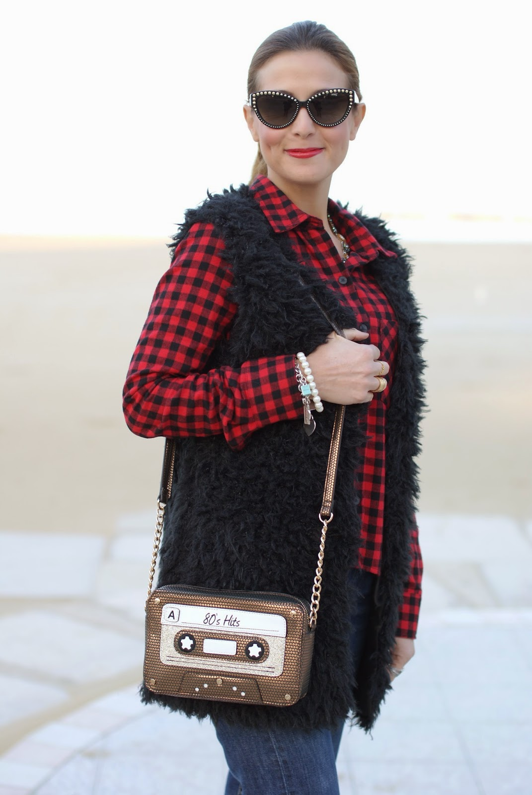 Buffalo plaid shirt, Levi's 501 jeans, accessorize 80s hits bag, Fashion and Cookies, fashion blogger, chelsea boots