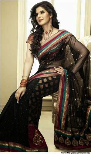 Zarine Khan Ethnic Black Net Saree
