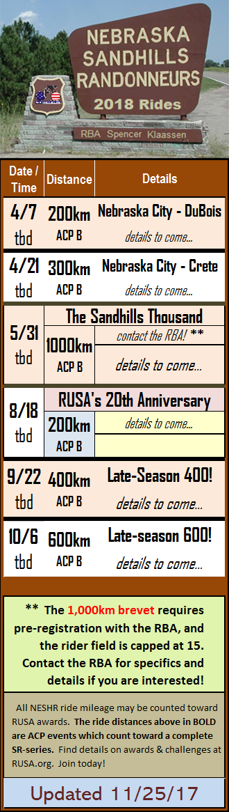 NESHR Ride Schedule