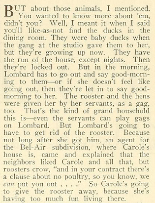1937 film magazine clipping about Carole Lombard's pets, hens, rooster