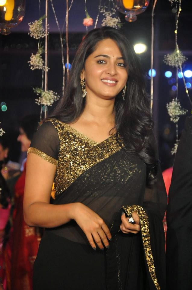 Anushka Shetty Hot Black Transparent Saree Pictures At K Raghavendra Rao Son Prakashs Wedding