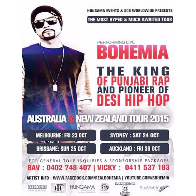 BOHEMIA the punjabi rapper LIVE in Australia and New Zealand in October 2015