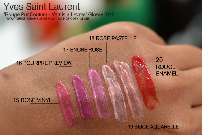 Yves Saint Laurent Rouge Pur Couture Vernis Levres Glossy Stain Indian Darker Skin Swatches 15 Rose Vinyl 16 Pourpre preview 17 Encre 18 Pastelle 20 Rouge Enamel 19 Beige Aquarelle Makeup Beauty Blog