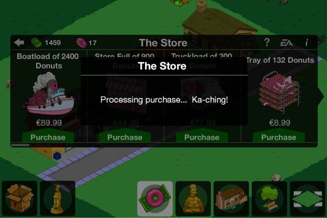 The Simpsons Tappet Out free donuts - free in-app purchases iPhone, iPad and Android