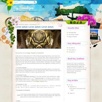 My Travelogue blogger template. travel blogger template. free blogspot template