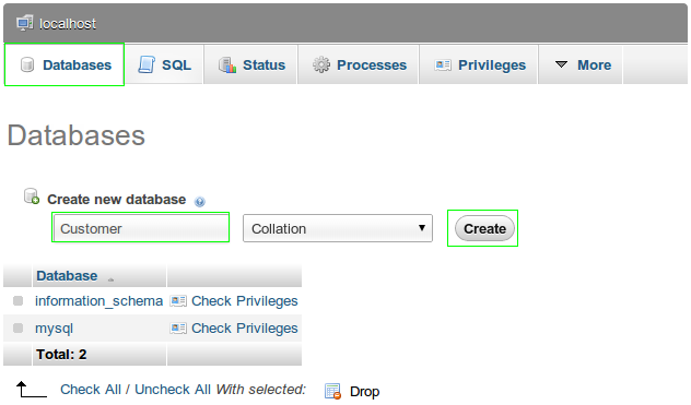 how to create a new database using phpmyadmin 34 mysql