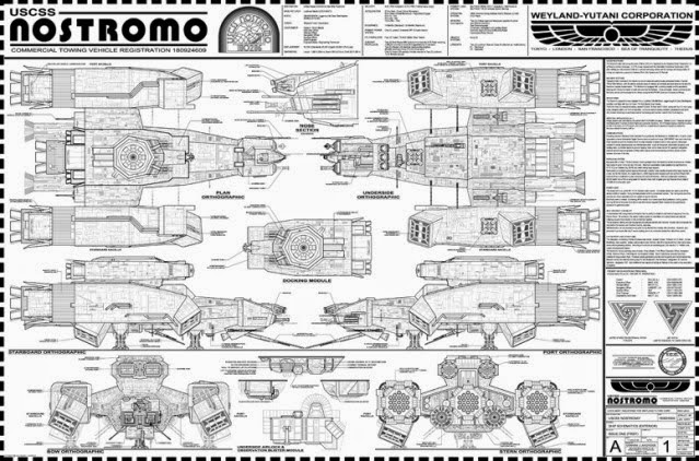 nostromo alien vault floor plan blueprint print