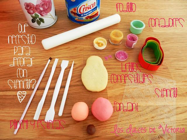 decorar galletas con stencil o plantillas