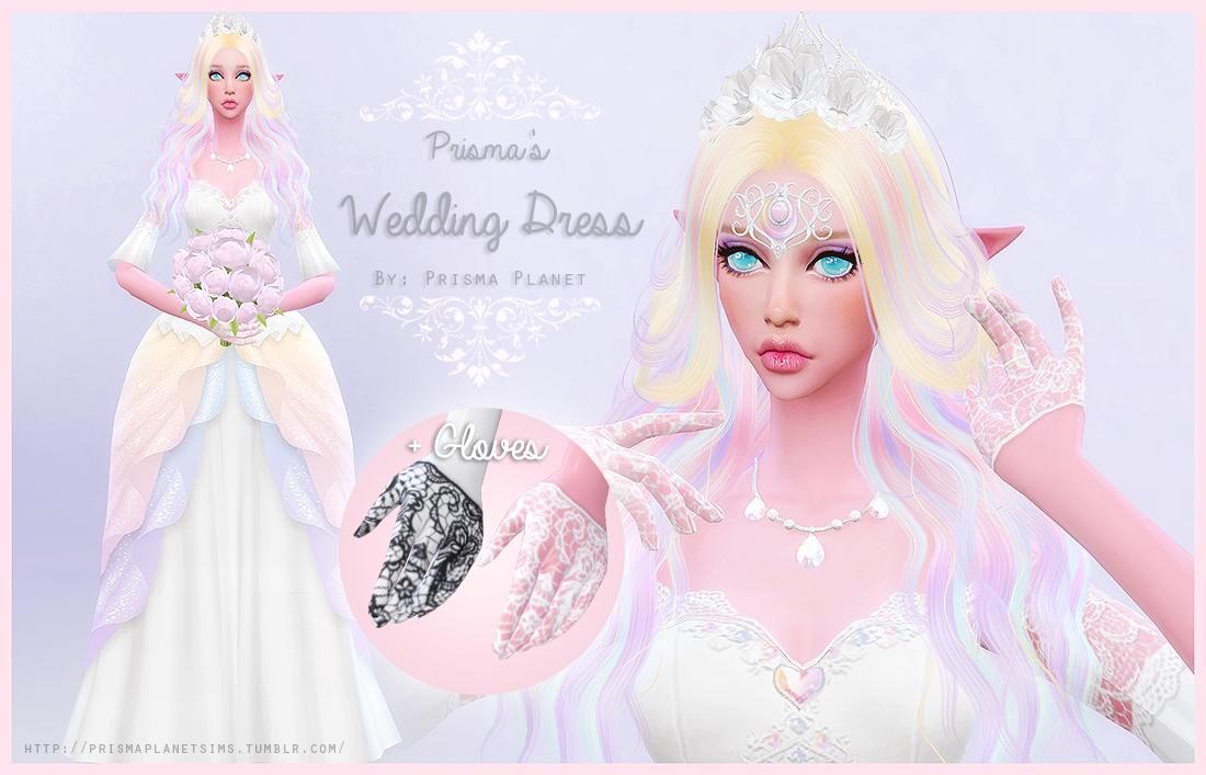 My Sims 4 Blog: Prisma\'s Wedding Dress + Gloves